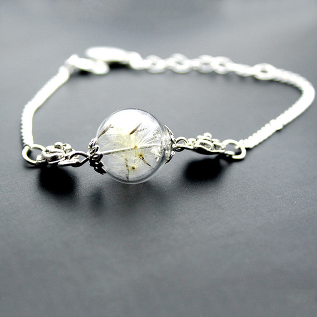 Fashion Women Bracelet Alloy Dandelion Bracelets With Pendant Gl Ball Vintage Chain Charm Jewelry