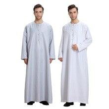 2019 Traditional Muslim Mens Saudi Thobe Robe Arabic Kaftan Dress Arab Dubai Long Sleeve Islamic Man Jubba Plus Size