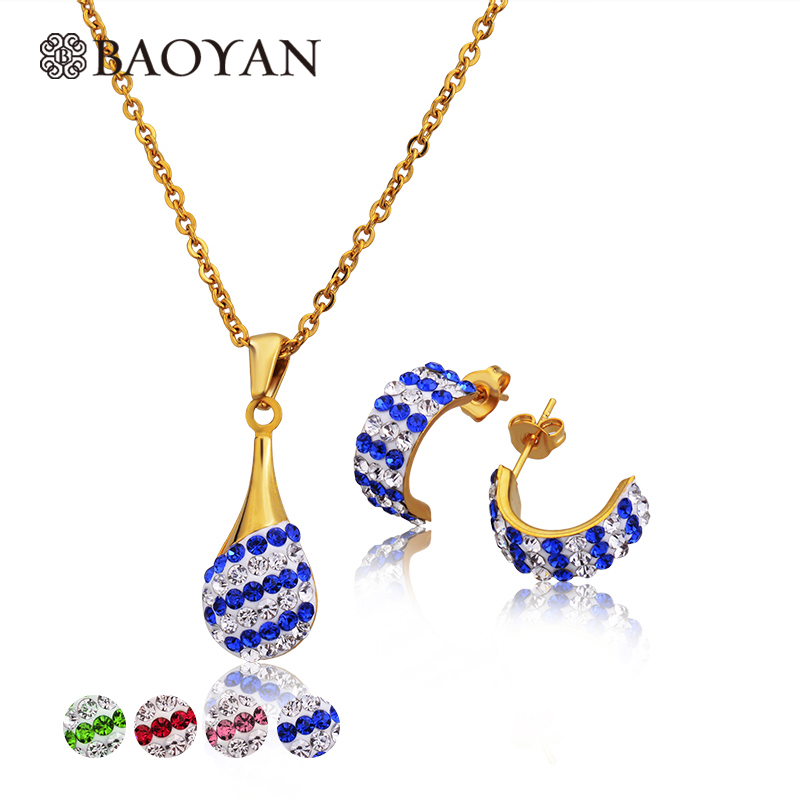 Baoyan 316L Stainless Steel Crystal Necklace and Earring Gold Color Jewellery Jewelry Sets For Women Wholesale Mixed Lots