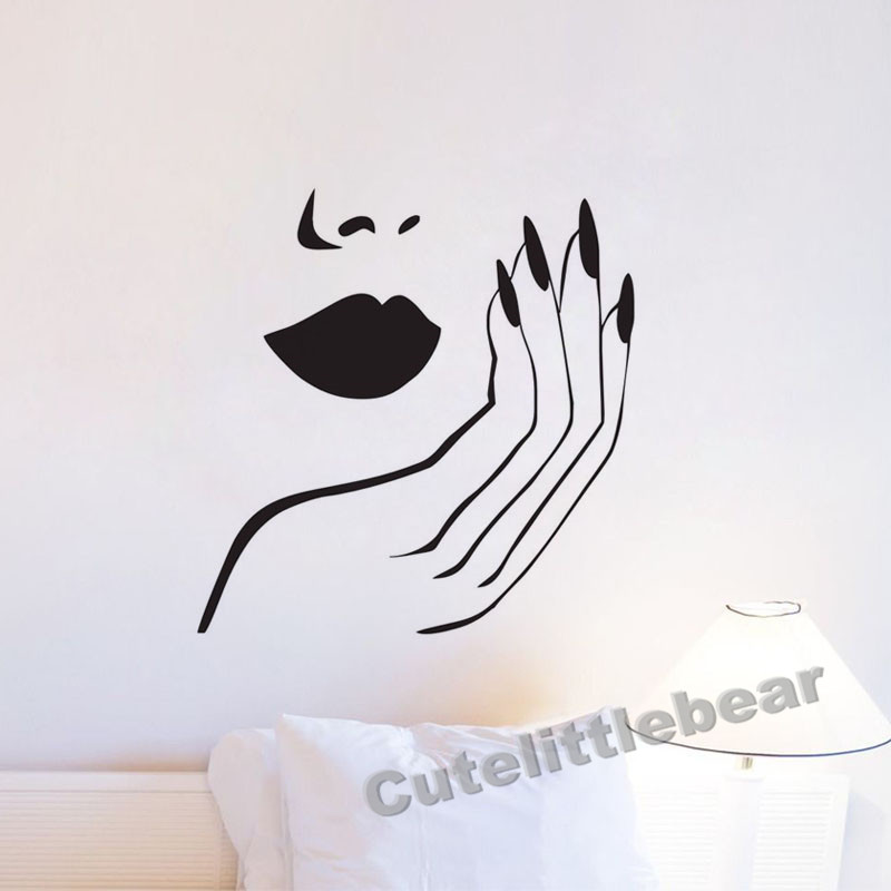 Nails Wall Stickers For Bedroom Girls DIY Home Decor Sexy Woman Manicure Salon Wall Decals Vinyl Removable Wall Murals