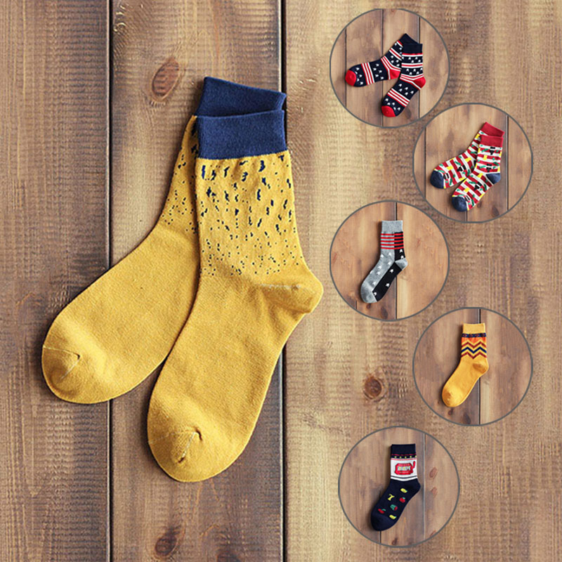 Fashion Men Autumn Winter Cotton Socks Stripes Cute Candy Stars Polka Dots Printed Middle Length Socks Calcetines Hombre