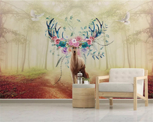beibehang Custom size Modern classic interior painting wallpaper fantasy forest elk TV background wall papers home decor behang