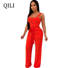 QILI Women Loose Jumpsuits Casual Overalls Tank Button Pockets With Sashes Fashion Womens Boot Cut Long Pants Jumpsuit