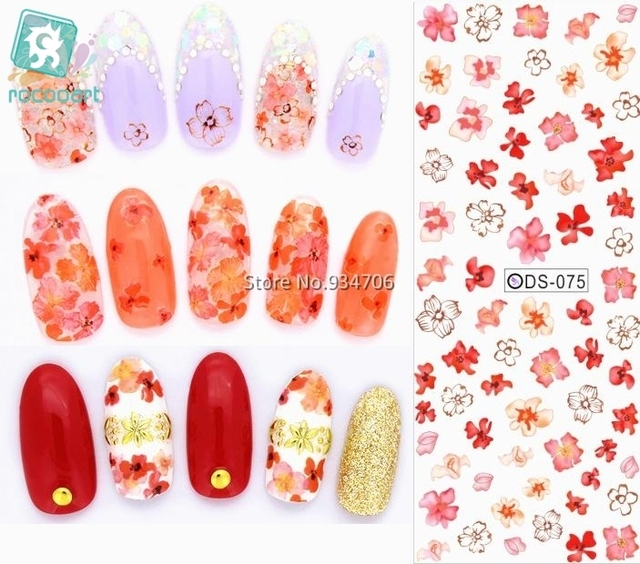 Rocooart DS075 2017 Nail Water Transfer Nails Art Sticker Red Flowers Nail Wraps Sticker Tips Manicura Fingernails Decals