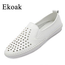Ekoak Genuine Leather Size 35-43 New 2017 Classic Women Casual Shoes Summer Autumn Women Flats Fashion Girls hollow Shoes Woman