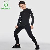 Niños chándales deportes de secado rápido elástico Fitness Wear Baloncesto Fútbol Correr Bases manga larga conjunto de entrenamiento