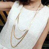 2016 nouveauté femmes les trois couches métal bouton accessoires nouveau Long collier chandail chaîne femelle luxe décoration chaîne