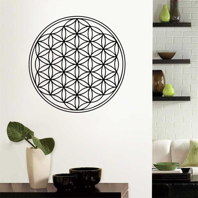 Seed Flower Of Life Wall Decal Art Decor Sticker Sacred Geometry Vinyl Movable Wall Decals Mural Home Room Decoration