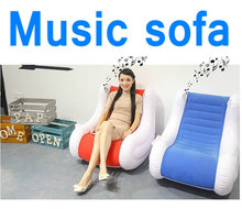 Inflatable music sofa music chair air bean bag relax living room chair blue and red home
