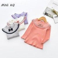 Minikq 2017 الربيع والخريف 65% ٪ مطوي بلوزة الأطفال الصلبة كم طويل قمصان بواسطة الطفلات colothes 4 الألوان
