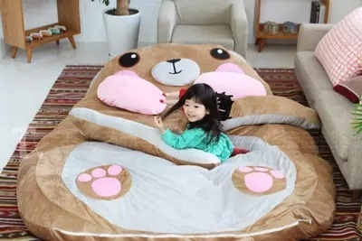 Extra large and small thickening bear lazy bed Mattress Double tatami Personalized cartoon sofa sleeping bag Totoro Bed