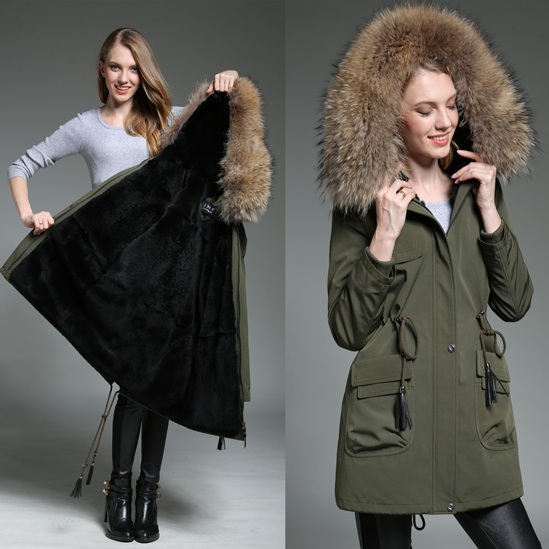 Factory direct supply clothes women Coat Natural 100% real Rex rabbit liner Fur sleeves Hooded Raccoon collar Parkas section 6XL 2017 winter new clothes to overcome the coat of women in the long reed rabbit hair fur fur coat fox raccoon fur collar