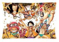 Rectángulo Cremallera Moda Clásica Funda de Almohada Personalizado 2 cara Imprime Brillante Anime One Piece Luffy Almohada Caso # P0266