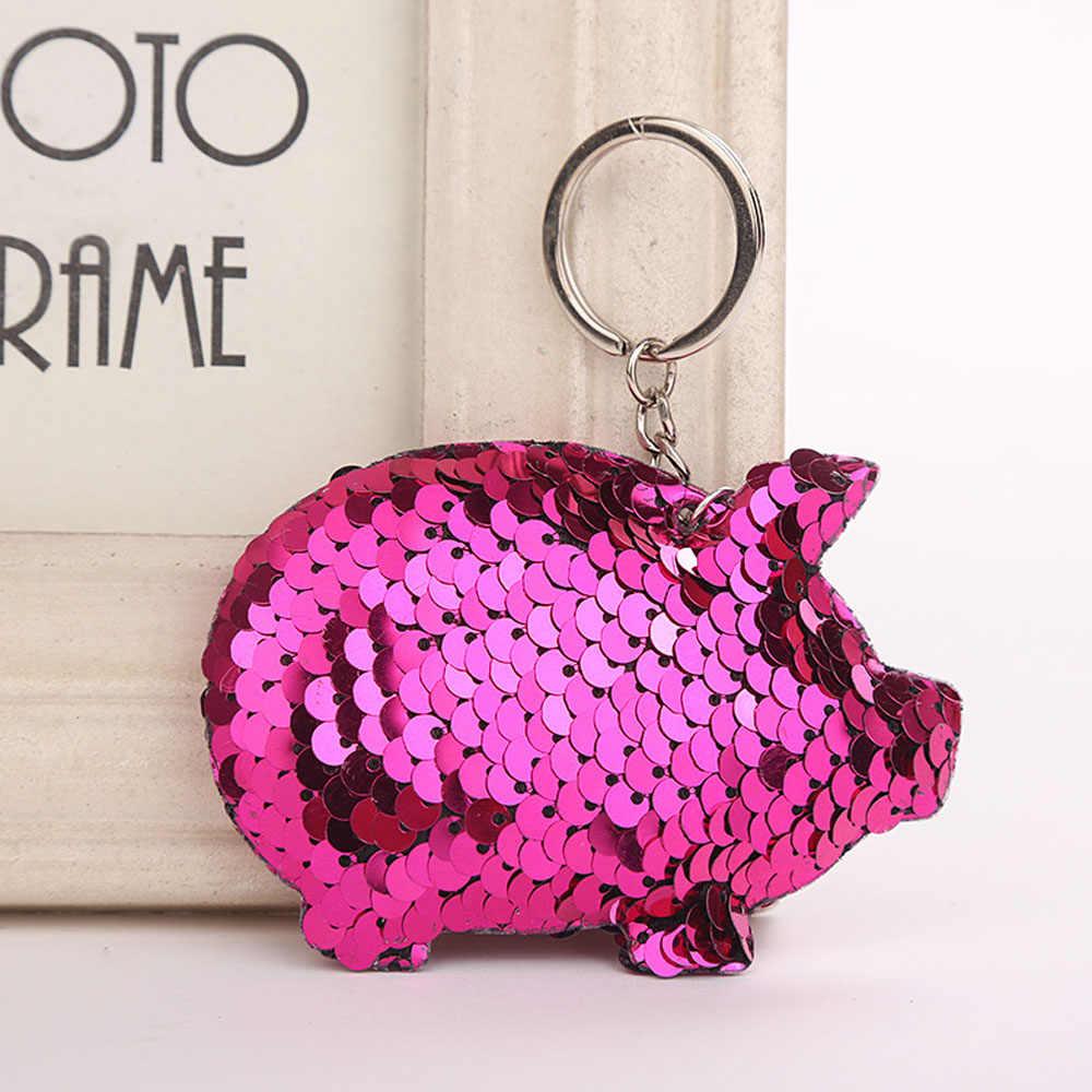2019 Nova Bonito Pompom Glitter Lantejoulas Presentes Da Corrente Chave Chaveiro Chaveiro de Porco para As Mulheres Llaveros Mujer Saco Acessórios Chave Do Carro anel