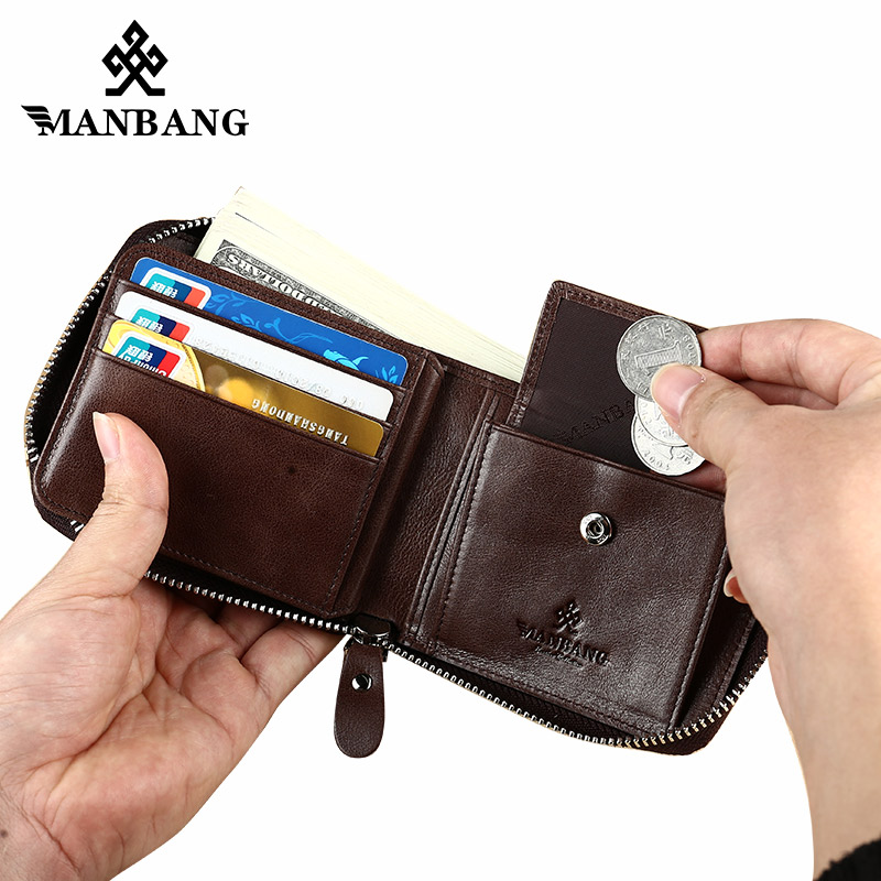 ManBang Genuine Leather Wallet Man Fashion Coin Pocket Small Vintage Men Wallet Male Short Card Holder Purse Brand mini Wallet contact s brand short men wallets genuine leather male purse card holder wallet fashion man hasp wallet man coin bags
