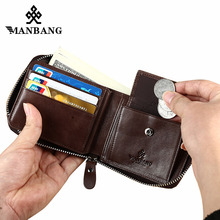 ManBang Genuine Leather Wallet Man Fashion Coin Pocket Small Vintage Men Male Short Card Holder Purse Brand mini