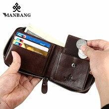 ManBang cartera de cuero genuino para hombre, bolsillo para monedas pequeño, Vintage, tarjetero corto, monedero, mini Cartera de marca