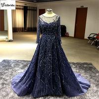 Потрясающие темно синий Вышивка вечернее платье одежда с длинным рукавом Выпускные платья 2016 Vestido Longo; Robe De Soiree вечернее платье