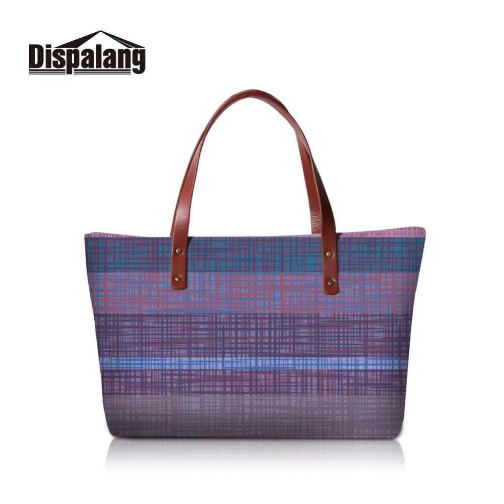 Dispalang Woman Handbag Tote 3D Plaid Printing Women Shoulder Bags Fashion Hand Bag Ladies Luxury Famous Brand Large Purse Bolsa