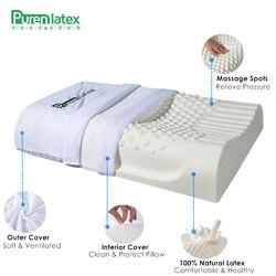 PurenLatex 60x40 almohada de látex Natural puro de Tailandia para proteger el cuello