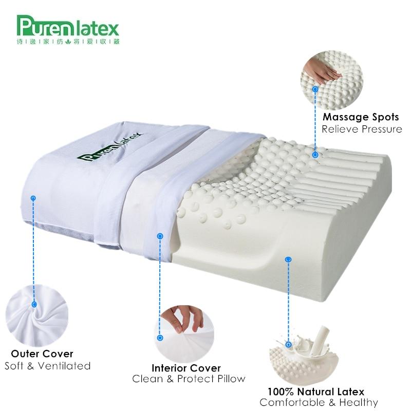 PurenLatex 60x40 Thailand Pure Natural Latex Pillow Remedial Neck Protect Vertebrae Health Care Orthopedic Pillow Slow Rebound