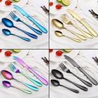 4pcs Rainbow Dinnerware Set Stainless Steel Cutlery Set Black Knife Fork Set Tableware Gold Silver Cutleries Western Dinnerware