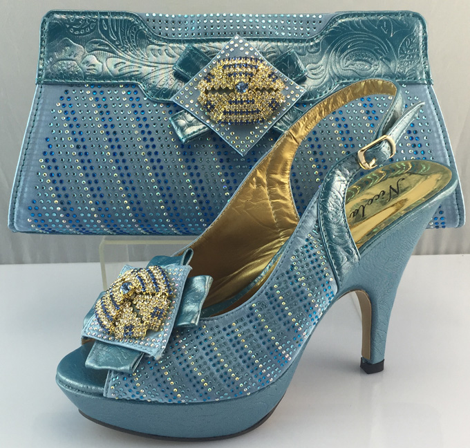 Most Popular Italian Shoes And Bag With Stones In Light Blue For Women Party Dress10 Cm Thin ...