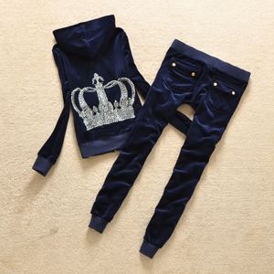Image 4 - Brand Sweatsuit Velvet Fabric Tracksuits Velour Outfits Hoodies Tops and Sweat Pants Set S  XL