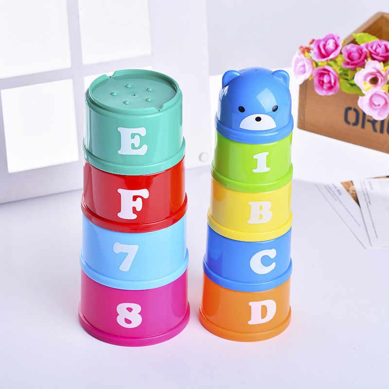 9 pçs/set Número Copo Pilha Torre Toy Figuras Letras Folding Plástico Classificação de Nidificação de Empilhamento de Inteligência Precoce Do Bebê Brinquedos Presentes