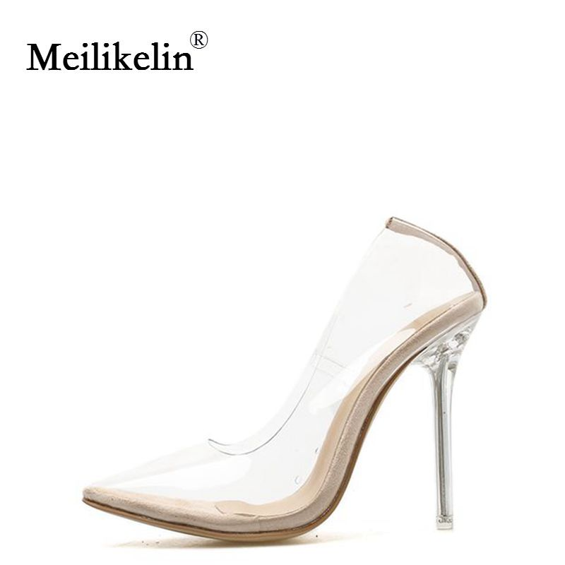 2019 womens shoes clear PVC Transparent pumps sandals crystal heel thin high-heeled pointed toes woman party nightclub shoe35-42