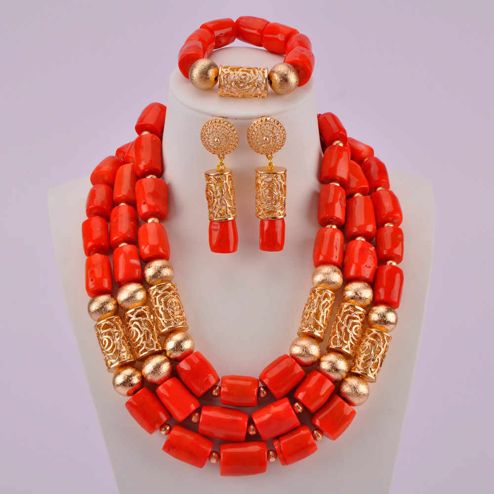 Genuine Orange Coral Necklace Jewelry Set for Brides Nigerian Wedding African Coral Beads Jewelry Set Gold Dubai RCBS08