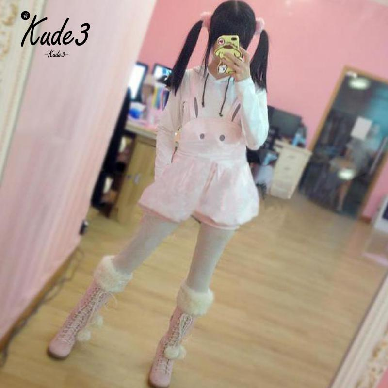 Super Cute Girls Pink Rabbit Bunny Ears Overall Shorts Lolita Dungarees Rompers Adjustable Length Jumpsuit Overalls Playsuit 23