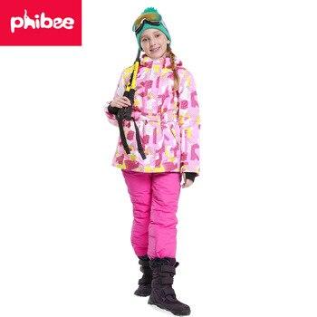 new Winter Fleece Warm Ski Suit Boys Waterproof Mountain Skiing Jacket Coat + Bib Pants Children Kids Snowboard Snow Clothing