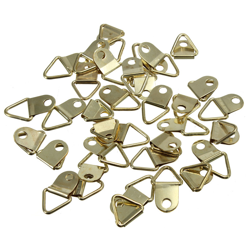 50Pcs Picture Hangers Golden Brass Triangle Photo Picture Frame Wall Mount Hanger Hook Hanging Ring Iron 50pcs lot wire hanger fastener hanging photo picture frame quick easy clutch release nickel plate movable head ceiling
