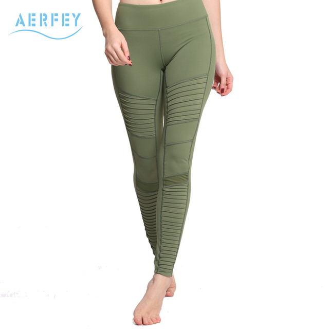 17e516b825915 Aerfey Brand New Women Pleated Mesh Patchwork Sports Yoga Pants Compression  Gym Moto Jogging Leggings Army Green Color