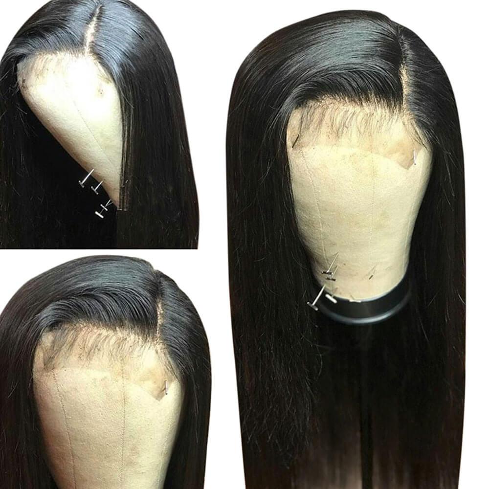 Eseewigs 13x6 синтетические волосы на кружеве парик прямо бразильский волосы remy парик предварительно накладка из волос линии с натуральные Детск...
