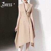 INDRESSME 2019 New Notched Collar Double Breasted Sleeveless Asymmetrical Hem A line Party Midi Dress Khaki