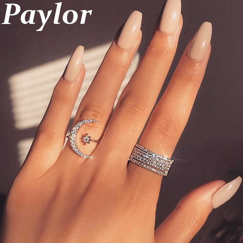 New Fashion Ring Moon & Star Dazzling Crystal Rings for Women Girls Jewelry Open Finger Ring Wedding Engagement Jewelry Gift