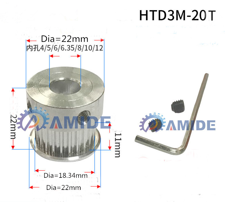 20 Teeth 3M Timing Pulley Bore 4-12mm HTD3M20teeth pulley Width 11mm,HTD3M Timing belt HTD3M pulley gear 20Teeth 20T 3D printe все цены