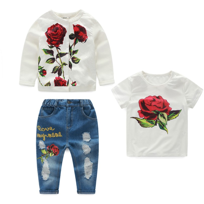 2018 Spring Summer Girls Clothes White Cardigan Tops Children Broken Hole Pants Three Piece Set Floral Girls Suit Kids Costume girls in pants third summer