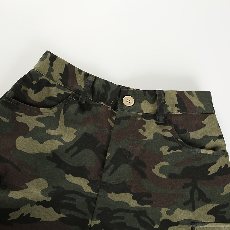 10Sweetown Elastic High Waisted Camo Shorts For Women Army Camouflage Cotton Womens Shorts Summer Short Femme Ete 2018 Streetwear