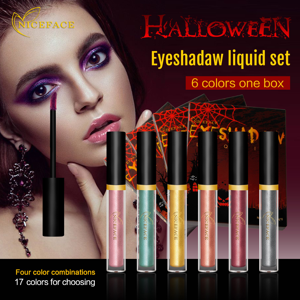 niceface 6pcsset makeup eyeshadow for halloween style cosplay waterproof glitter liquid metallic smoky eye - Eyeshadow For Halloween
