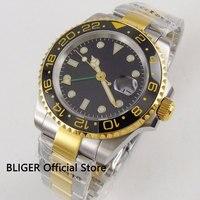サファイアクリスタル 40 ミリメートル BLIGER ブラック滅菌ダイヤルセラミック Gmt 機能発光高級自動ムーブメントメンズ腕時計 B272 -