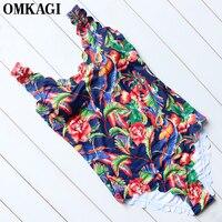 OMKAGI Brand 2017 Retro Print One Piece Swimsuit Wavy Edge Swimwear Women Sexy Monokini Swimsuits Summer