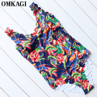 OMKAGI Brand 2017 Retro Print One Piece Swimsuit Wavy Edge Swimwear Women Sexy Monokini Swimsuits Summer