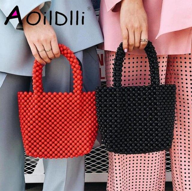 Women Beaded Bags Vintage Retro Design Small Tote Shoulder Bag Girls Handmade Beach Handbags Brand Design Small Purse Clutches