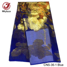 African shiny High-Class Real silk fabric beautiful pattern printed nigerian 100% real silk fabric for women dress CNS-36