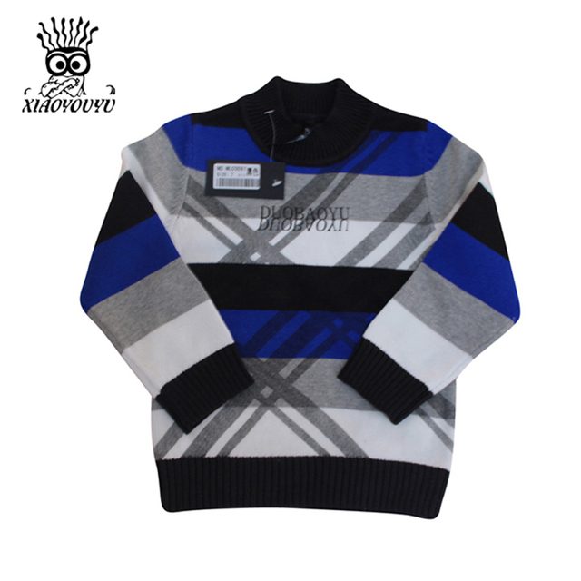 XIAOYOUYU Size 90-130 cm Children Knitted Sweaters Casual Winter Clothes Boys Striped Pullover Three Color Kids Fashion Sweaters