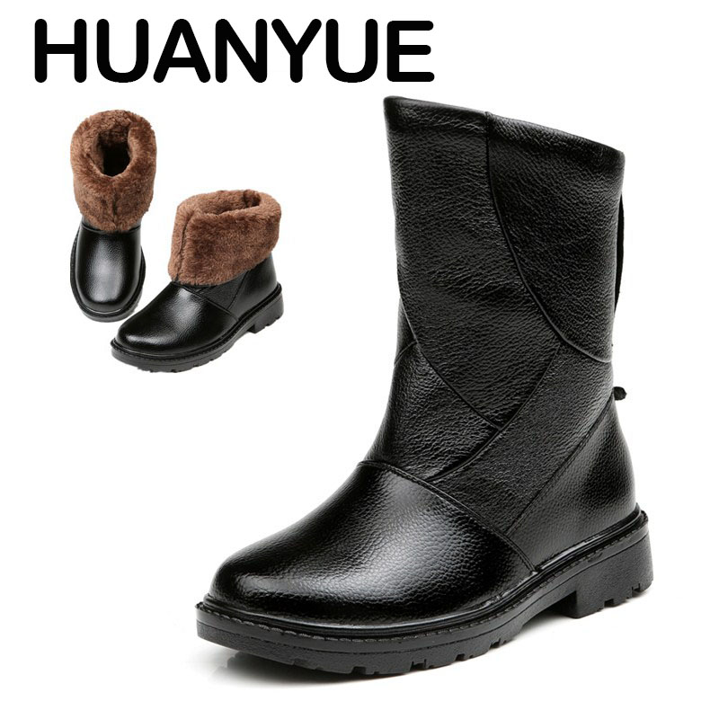 2018 New Warm Winter Men Boots High Quality Leather Snow Boots Fashion Autumn Winter Men Long Boots Plush Waterproof Anti-skid mulinsen latest lifestyle 2017 autumn winter men