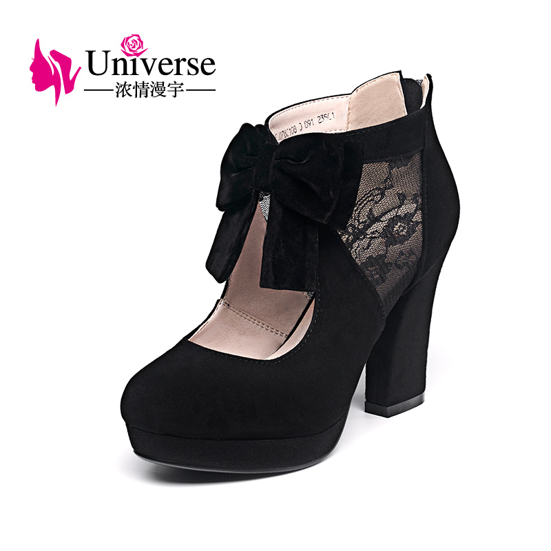 Universe Butterfly Knot Hallow Out Super High Heel Shoes Women Plus Size Round Toe Square Heel
